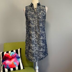 The Limited Blue Floral Chambray Shirt Dress